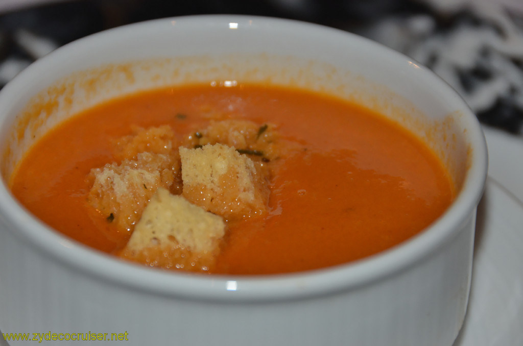 Carnival Conquest, New Orleans, Embarkation, MDR Dinner, Cream of Sun Ripened Tomatoes Soup,
