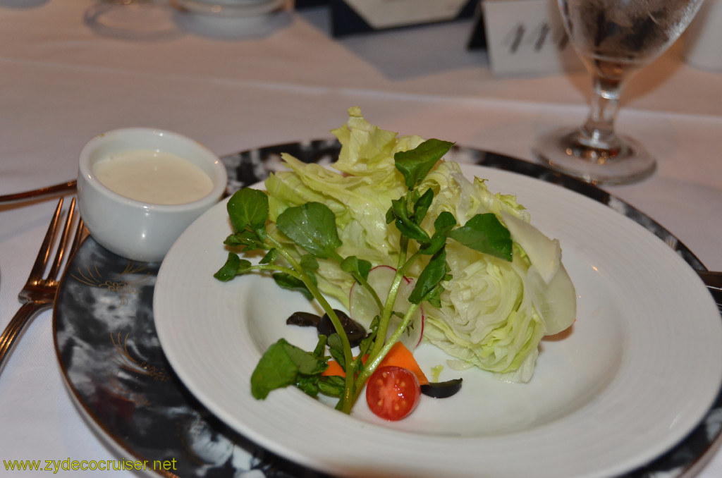 Carnival Conquest, New Orleans, Embarkation, MDR Dinner, Heart of Iceberg Lettuce Salad with Blue Cheese Dressing,
