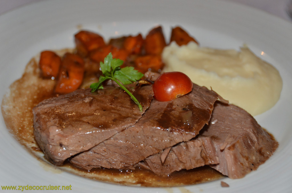 Carnival Conquest, New Orleans, Embarkation, MDR Dinner, Tender Braised Beef Brisket in Gravy,