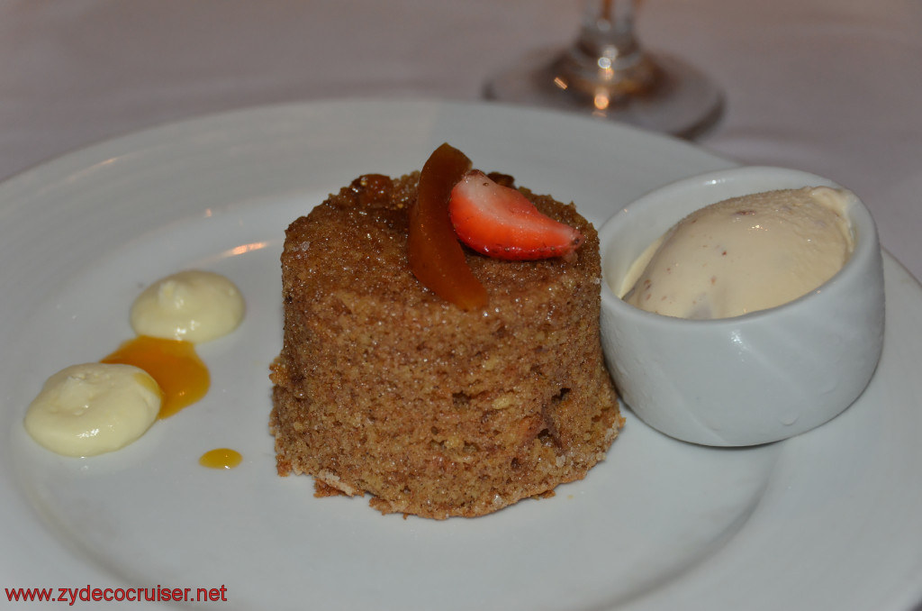 Carnival Conquest, Fun Day at Sea 2, MDR dinner, Warm Fig, Date, and Cinnamon Cake,