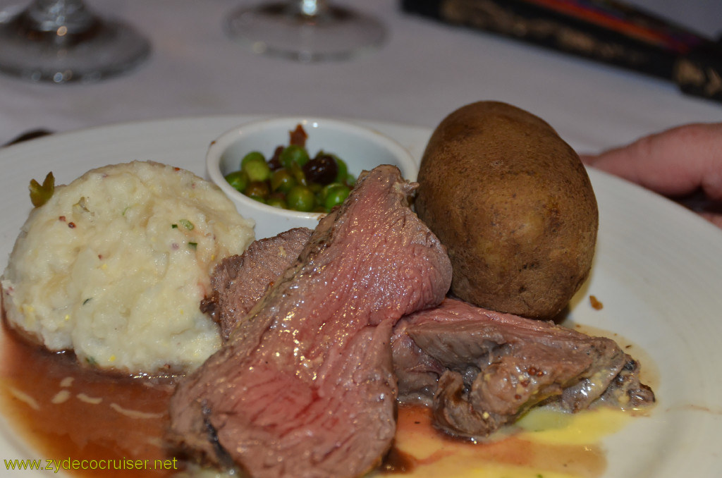 Carnival Conquest, Belize, MDR dinner, Chateaubriand with Sauce Béarnaise,