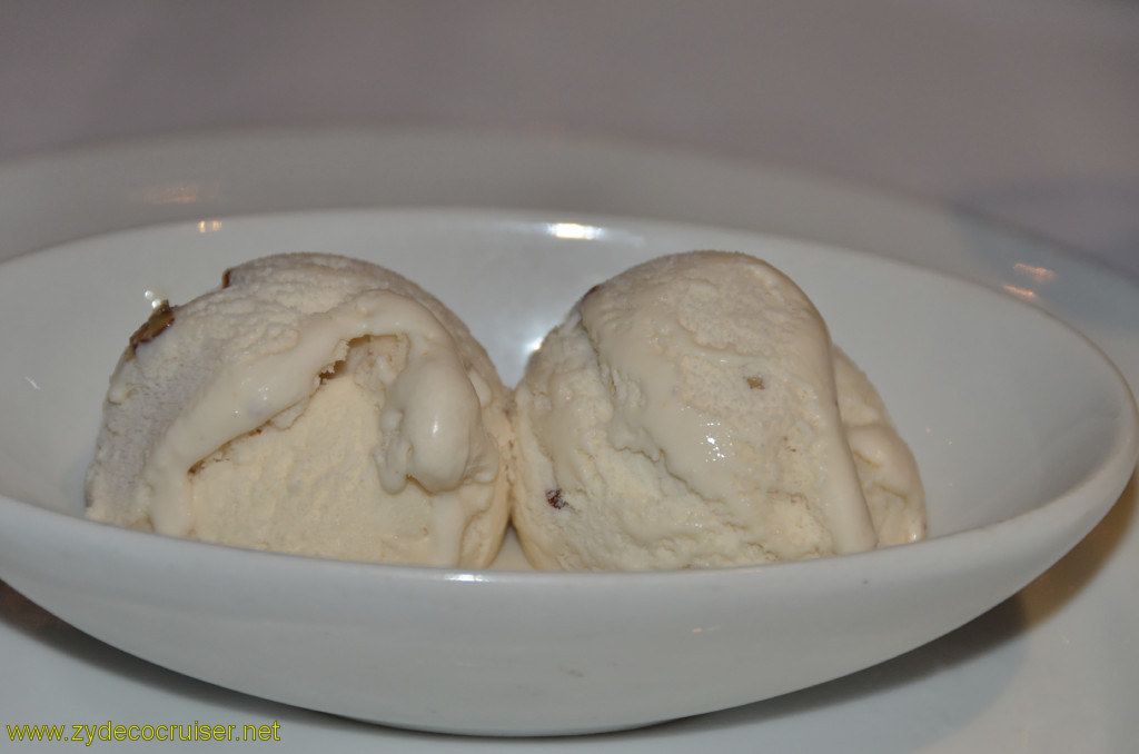 Carnival Conquest, Belize, MDR dinner, Butter pecan ice cream,