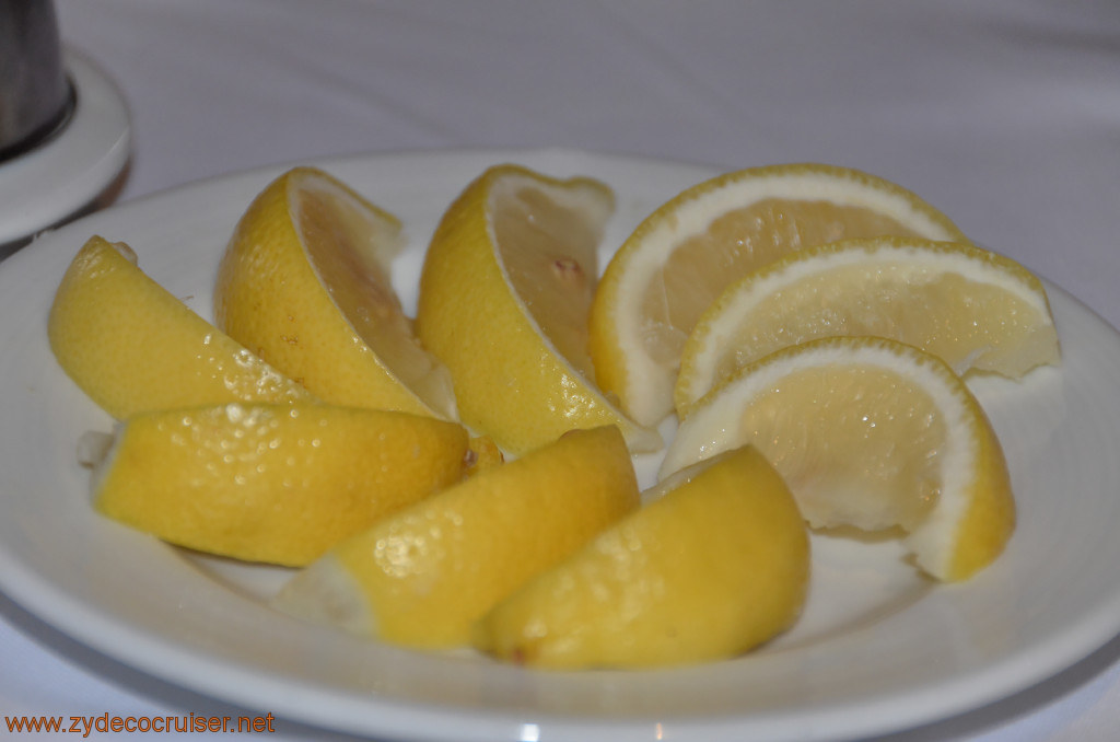 061: Carnival Conquest, Fun Day at Sea 3, MDR Dinner, Sliced lemons upon request (for water, whatever),